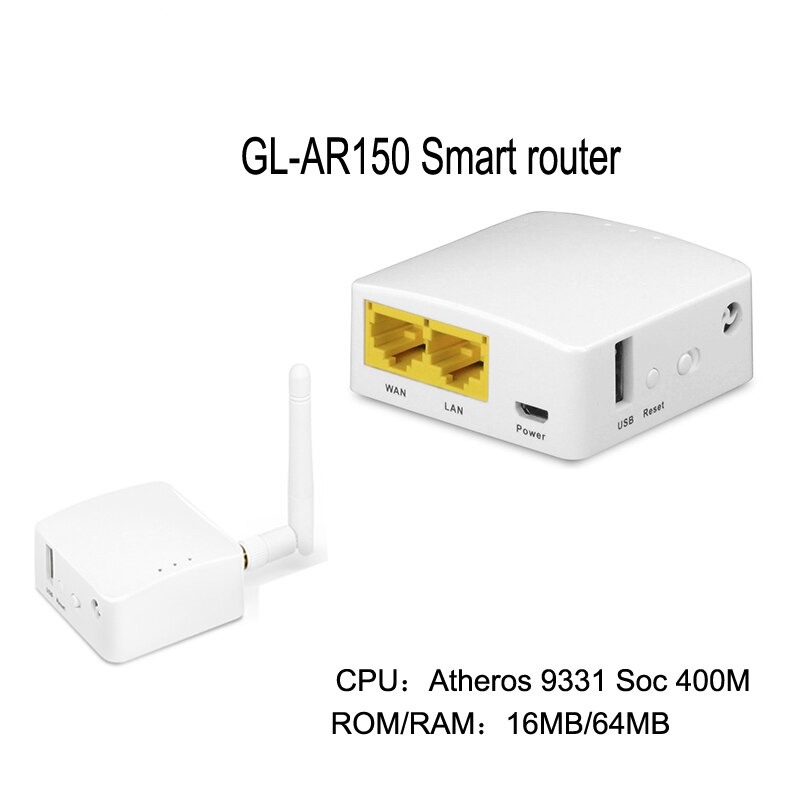 GL-AR150 AR9331, router inteligente inalámbrico WiFi, repetidor de 150mbps, Firmware OPENWRT, antena interna externa, módulo POE de soporte
