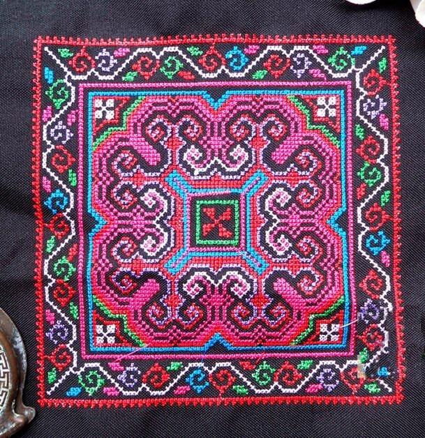 Miao stitch, tela lisa, prenda de parche bordado, bolsa, textiles para el hogar, aplique, embellecedor étnico, tribal, indio, bohemio, gitano, hmong DIY