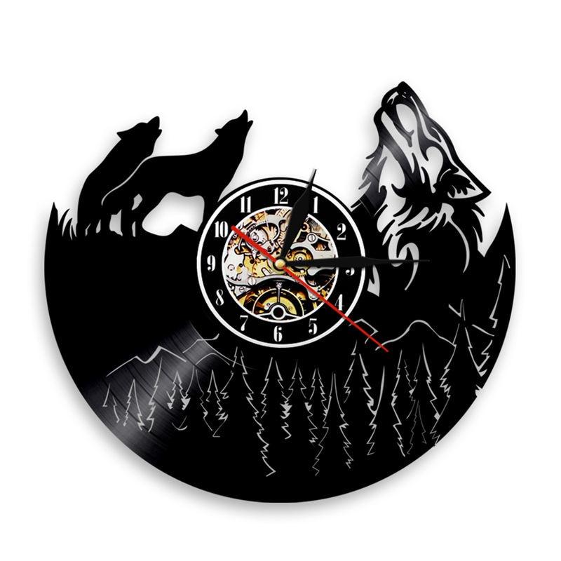 1Piece Wolf Vinyl Record Wall Clock Creative Classic Home Decor Musical Handmade CD Time Clock Relogio De Parede