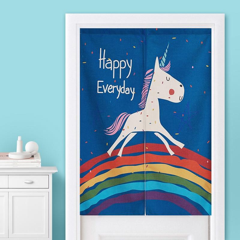 Cortina de puerta para dormitorio infantil divertida con diseño de unicornio arcoíris de dibujos animados, baño de cocina, Media cortina Feng Shui, cortina de puerta Noren