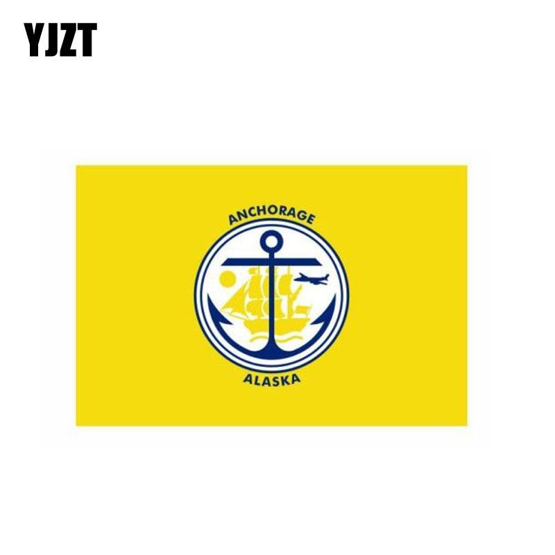 YJZT 10,8 CM * 7CM divertido anclaje Bandera de Alaska Calcomanía para...