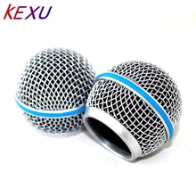 Blauw Staal Mesh Microfoon Grill Hoofd voor Shure Sm58 Draadloze Microfoon en Wired Microfoons, beta 58 een Shure Sv100 Draadloze Microfoons