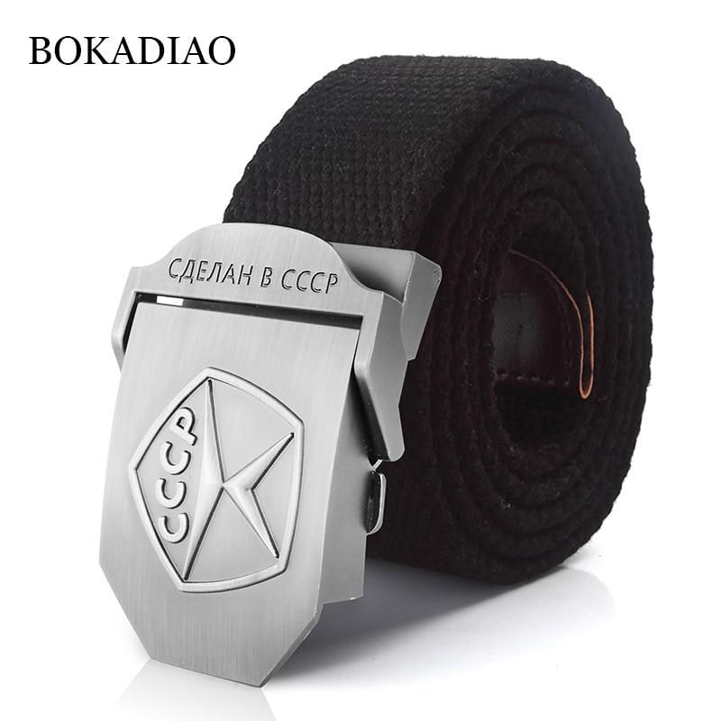 BOKADIAO Men&Women Canvas belt Vintage 3D CCCP Soviet Sign Metal buckle jeans belt Army Military tactical belts male strap Black