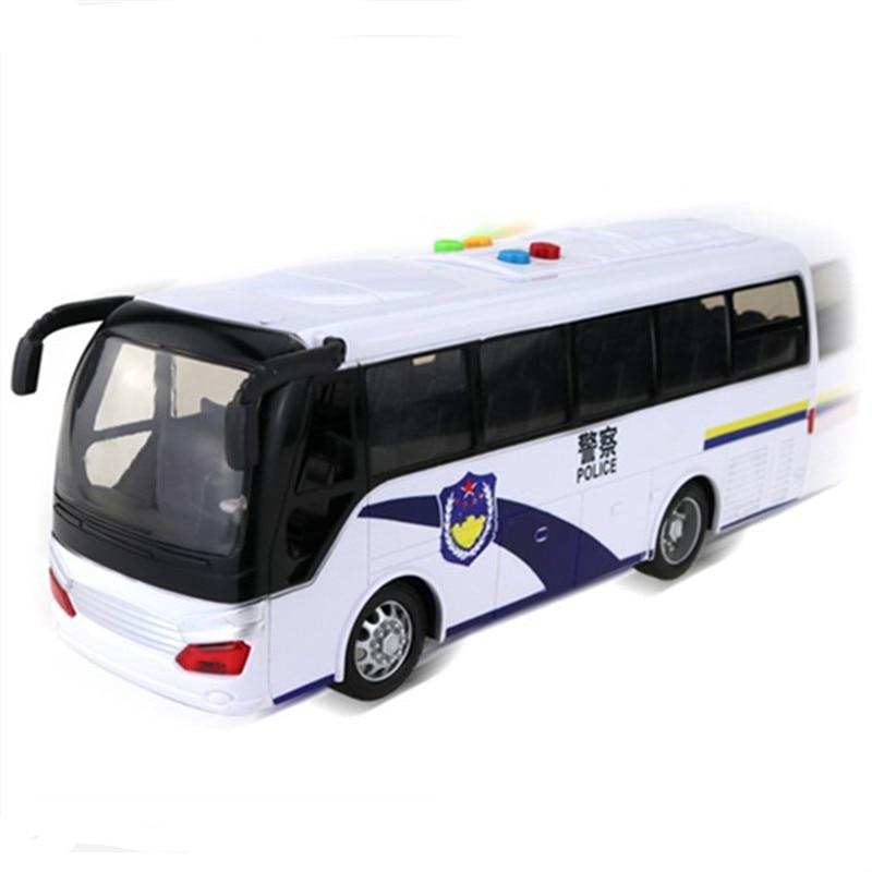 Grand bus de police blanc porte ouverte lumière musique voiture modèle voiture juguete garçons anniversaire oyuncak cadeau de noël enfants jouets