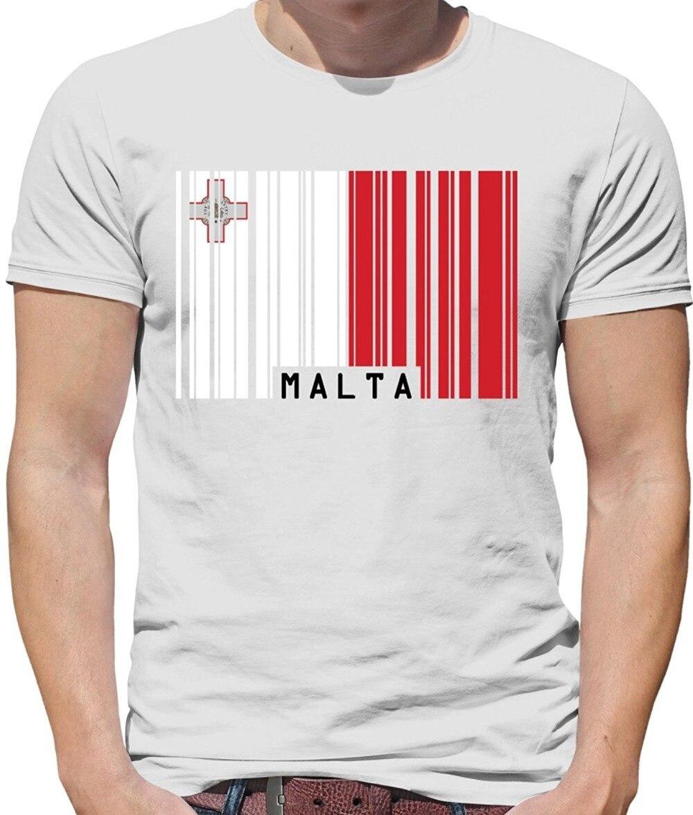 Código De Barras De impressão T Shirt Dos Homens de Manga Curta Hot Malta Bandeira Estilo-Cores T-Shirt Dos Homens Crewneck T-Shirt - 7