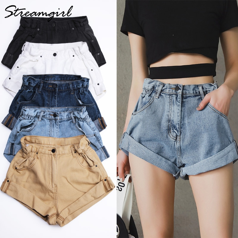 Streamgirl Denim Shorts Women's White Women Short Jeans Khaki Wide Leg Elastic Waist Vintage High Wa