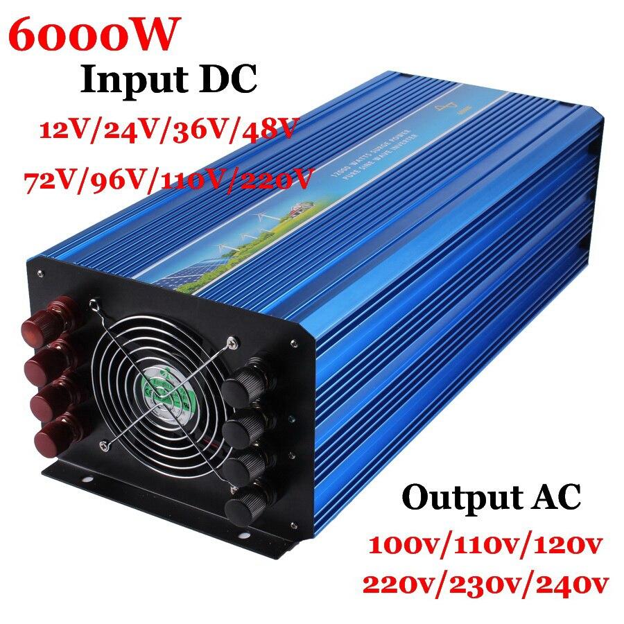Inversor fuera de red 6000W 12/24/36/48VDCto AC100/110/120 V o 220/230/240V Salida de onda sinusoidal pura inversor de viento Solar 6000W