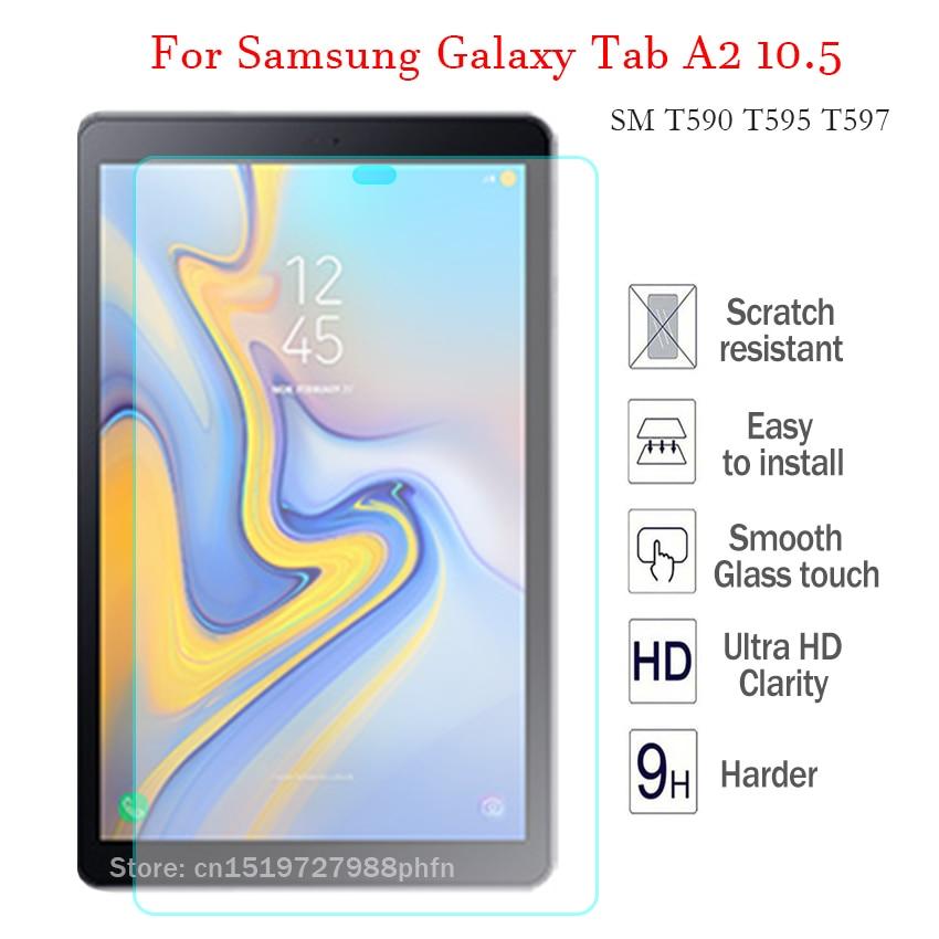 Tab A2 9H vidrio templado para Samsung Galaxy Tab A 10,5 SM T590 T595 T597 Protector de pantalla de la tableta de alta HD cubierta dura proteger película