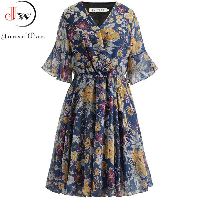 Women Floral Printed Summer Vintage Dress Short Sleeve V Neck Casual Chiffon Dress Elastic Waist A-line Dress Plus Size