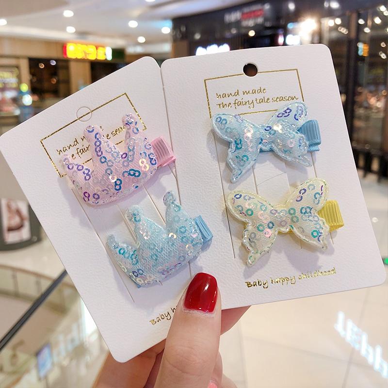 Los niños nuevos pelo Clips lindo corona mariposa corazón Mickey Orejas de conejo broches BB Clip poco chicas regalos niños accesorios para el pelo