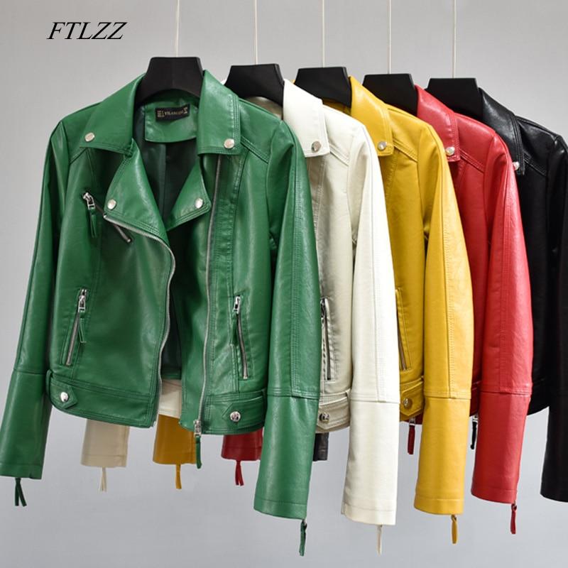 FTLZZ Women Autumn Pu Faux Soft Leather Motorcycle Zipper Jacket Coat Female Turndown Collar Slim Bi