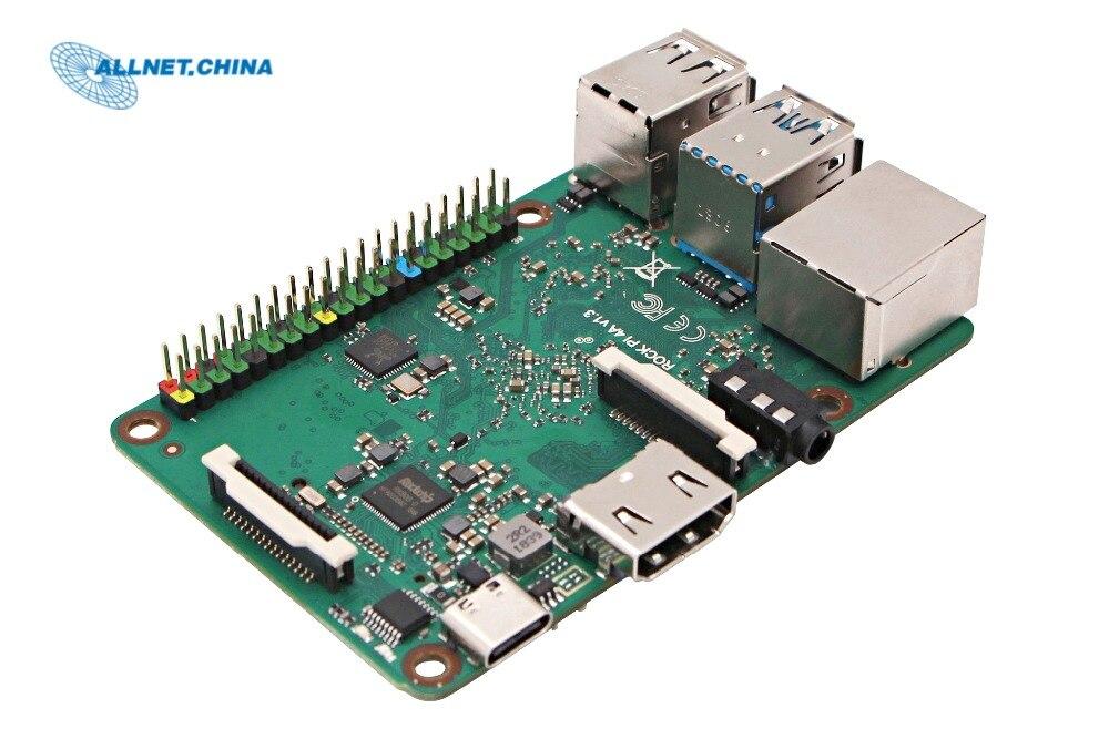 Placa de desarrollo RK3399 CHIP SBC ROCK PI 4A-V1.4 versión solamente (con Dualband 2,4/5GHz WLAN/Bluetooth 5,0) 4GB