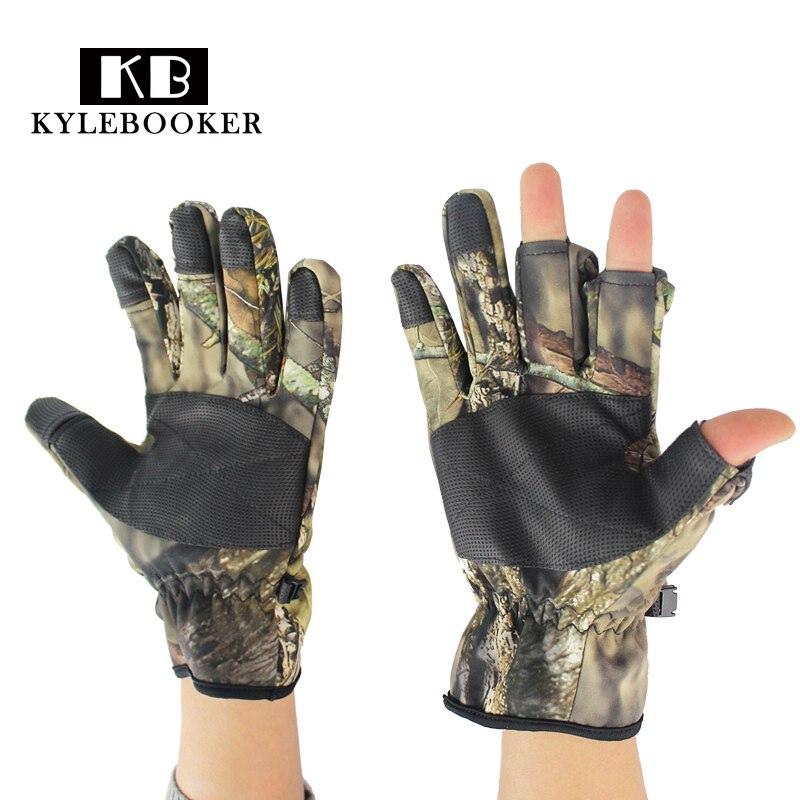 Nuevos guantes con dedos completos de camuflaje biónico de invierno para exterior, guantes antideslizantes para caza, guantes antideslizantes para disparar pesca, guantes con pantalla táctil elástica