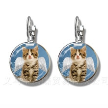 Christmas Animal Series Pattern Earrings 16mm Glass Dome Stud Earrings For Women Girls Jewelry Merry