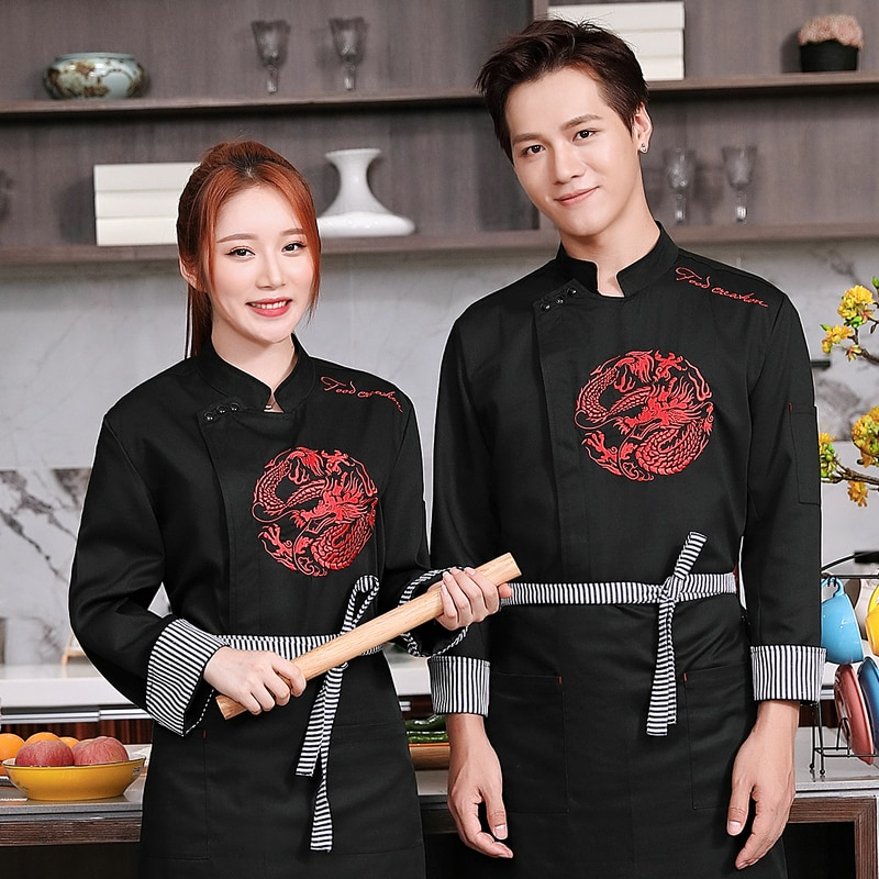 Winter Food Service men Hotel Chef Uniform long Sleeve Chef Jacket Chinese Restaurant Waiter Kitchen Uniform Cooking Clothes chinese food dishes book chinese pasta chinese cooking book for cooking food recipes free shipping