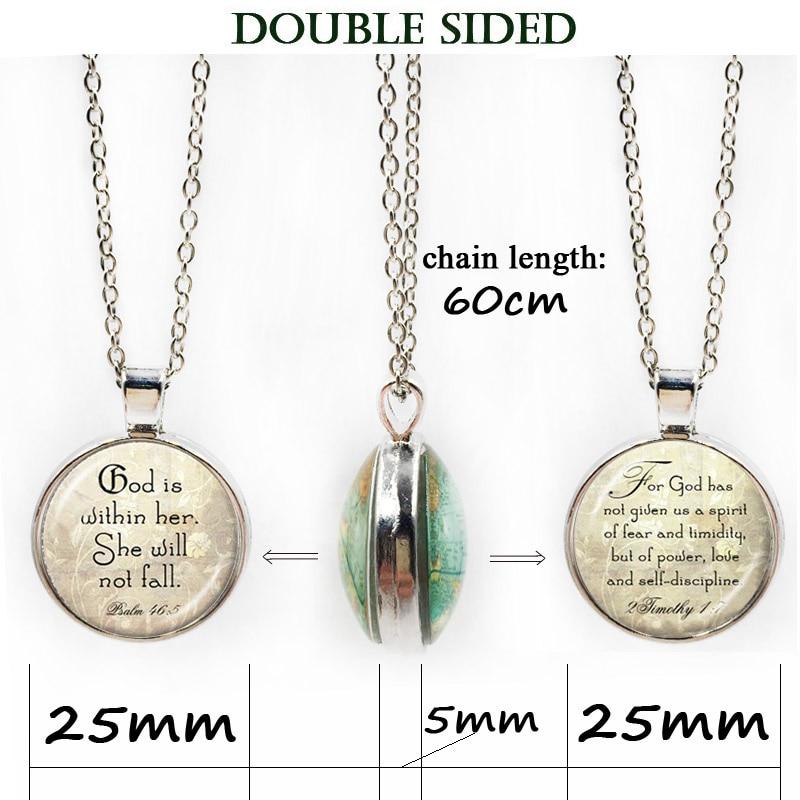 Christian colgante arte fe Biblia collar inspiración cita colgante Jesús joyería de collar de cabujón de cristal de la joyería