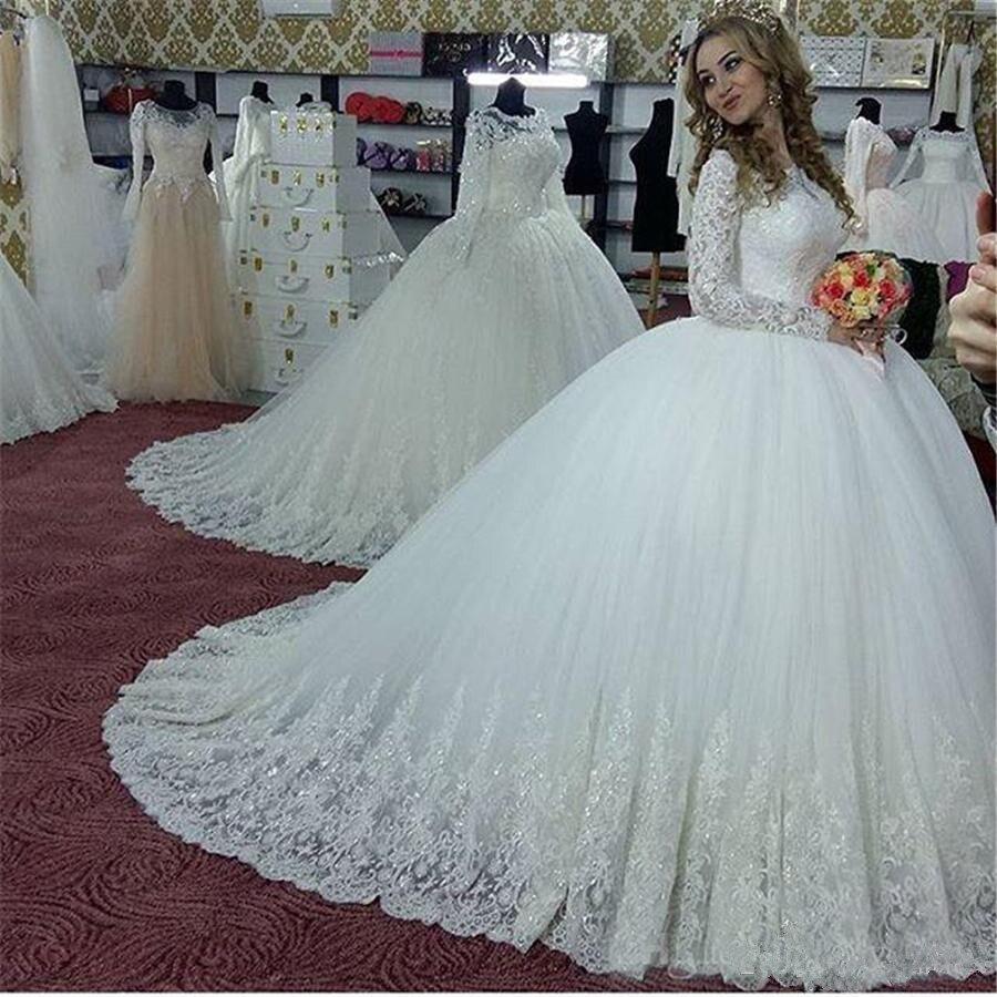 Vintage de manga larga cuello árabe alto apliques para Vestidos de bodas...