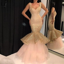Sparkly Sexy Mermaid Evening Dress Long Elegant Prom Dresses vestido de festa Shiny Sequins Tiered Tulle Skirt Formal Dress