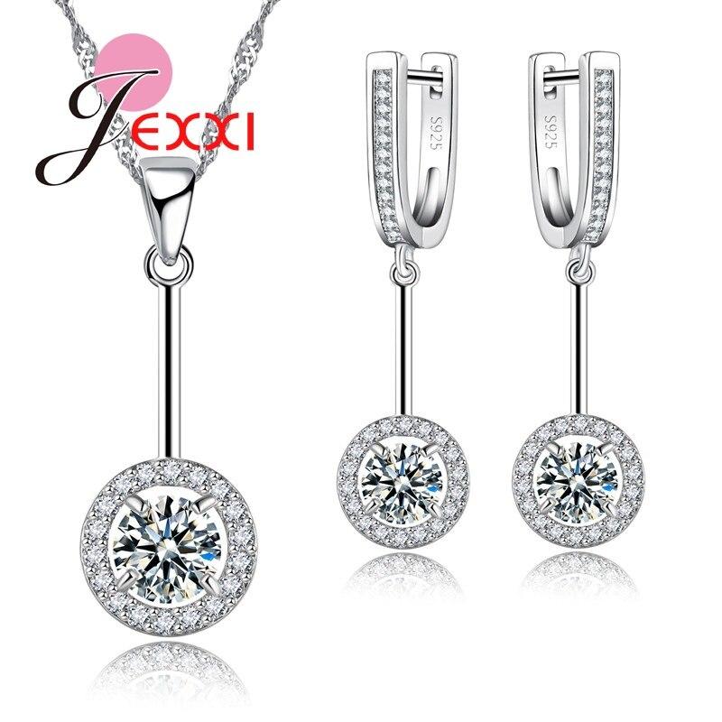 Conjuntos de jóias de cristal cz redondo para as mulheres brincos de cor de prata/anel/colar/pingente conjunto de acessórios de noiva