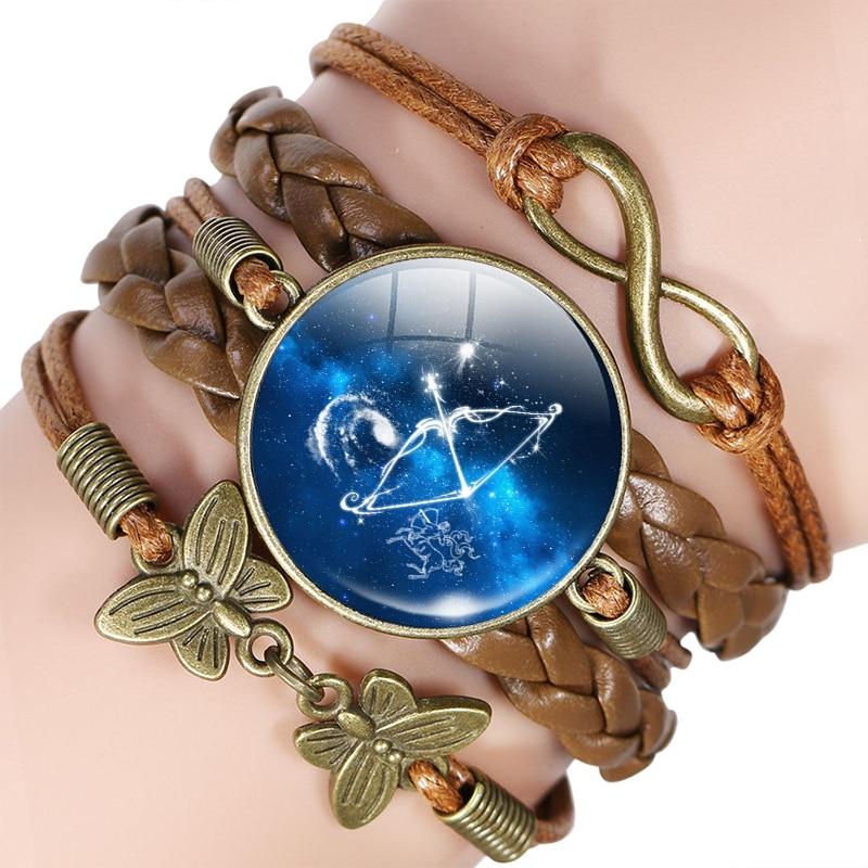 12 signo do zodíaco pulseira de couro pulseira virgem libra escorpião sagitário constelação jóias presente aniversário