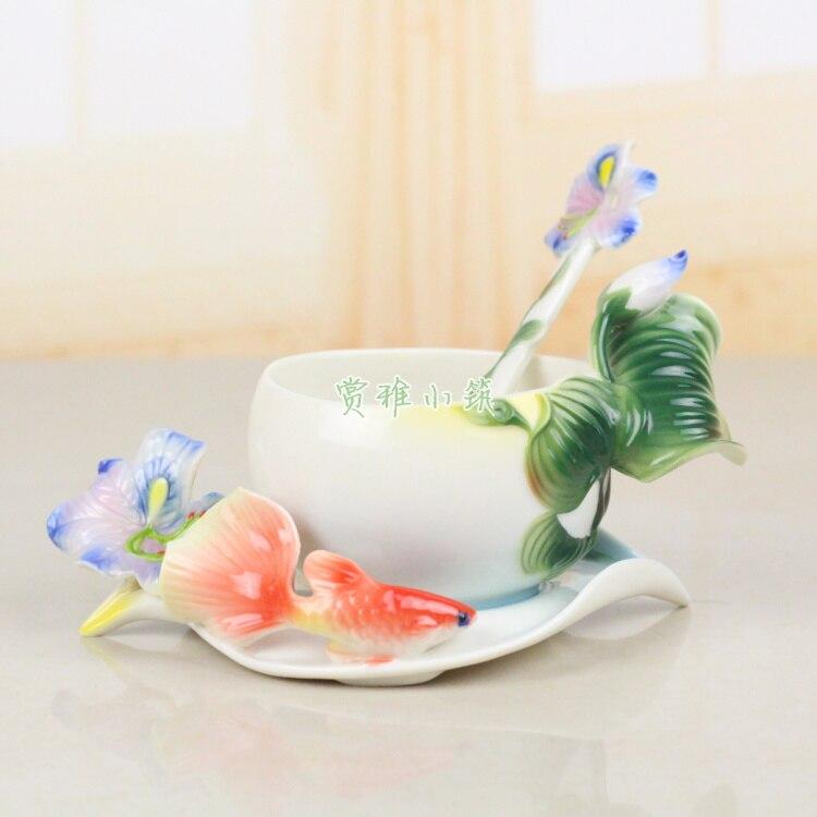 3D Color Enamel Iris Coffee Mug Cup Bone China Tea Milk Set Creative Drinkware Ceramic Copa Friend Gift