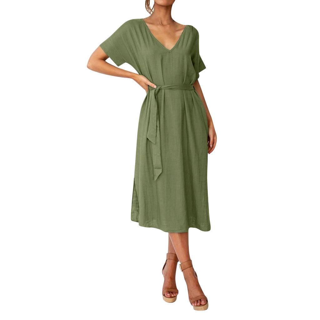 KLV 2019 summer dress Womens latest fashion платье Pure Colour V-Neck Simple Long Dresses free shipping D4