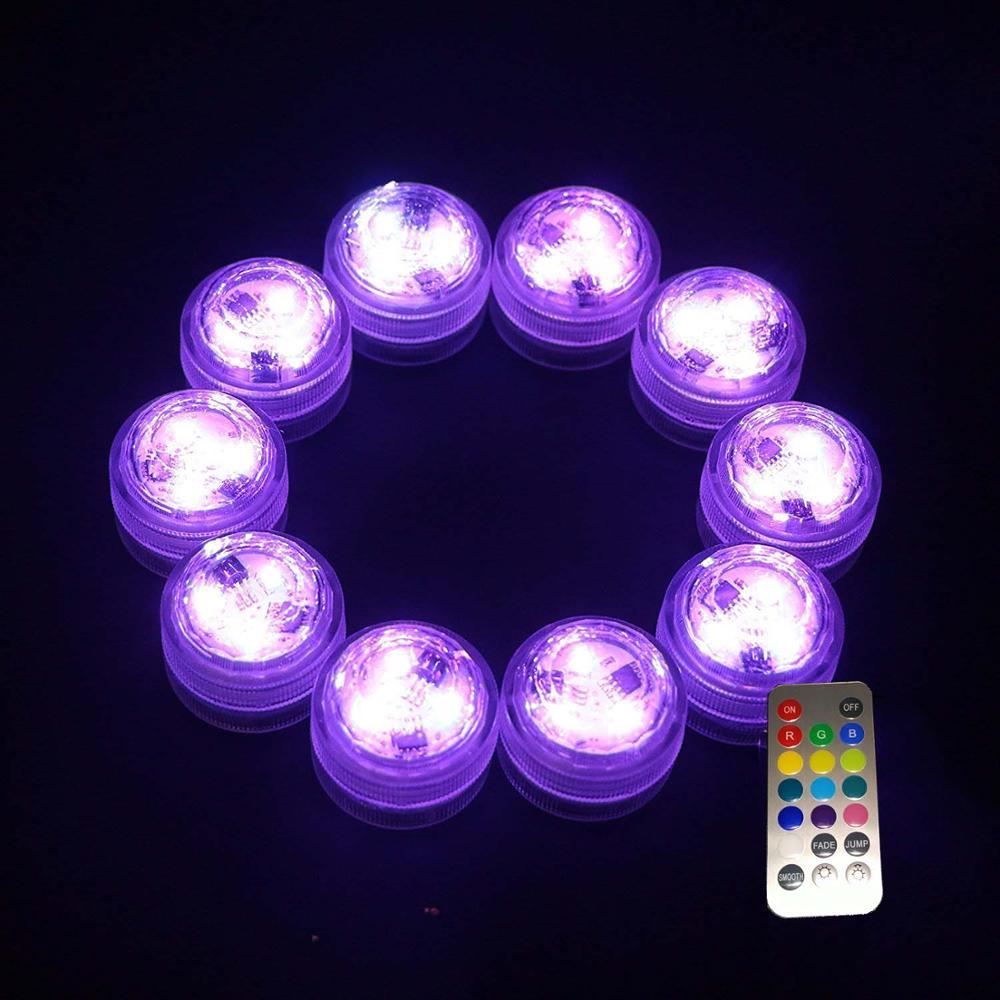 Envío Gratis 20 piezas Multi-color linterna sumergible lámpara vela electrónica batería natación piscina fiesta boda decoración