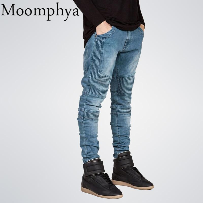 Moomphya Mens Skinny jeans men Runway Distressed slim elastic jeans denim Biker jeans hip hop pants Washed Pleated jeans blue