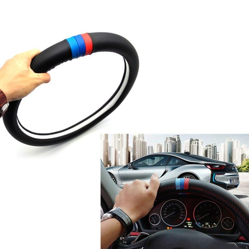 38cm accesorios del coche adhesivo para cubierta del volante para BMW E46 E39 E38 E90 E60 E36 F30 F30 E34 F10 F20 E92 E38 E91 E53 E70 X3 X5