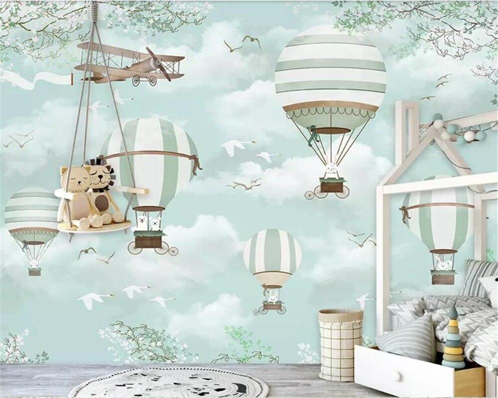 Beibehang personalizado niño fondo de sala pared 3d papel pintado azul cielo nubes blancas globo de aire caliente avión animal papel pintado de cachorro