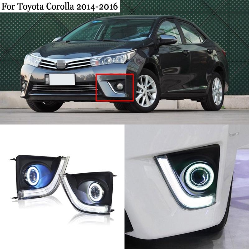 Ownsun COB Angel Eye Rings Projector Lens  Halogen Lamp Source Black Fog Lights Bumper Cover For Toyota Corolla 2014-2016