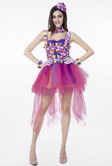Livraison gratuite cirque drôle Harley Quinn Halloween fantaisie Costume rose coloré femmes uniforme femme Clown Cosplay carnaval