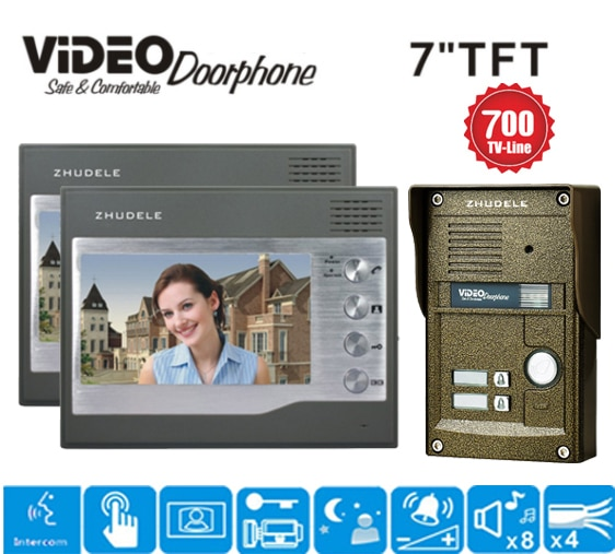 ЖК монитор ZHUDELE 7 дюймов RFID + passowrd 700 ТВ ИК камера видеодомофон домофон дверной