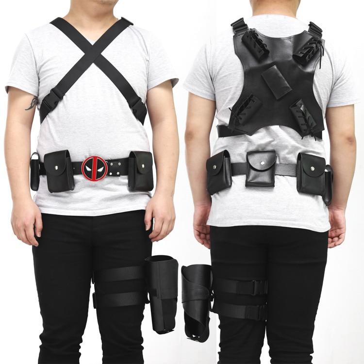 Ainiel Deadpool Cosplay Costume Accessories Deadpool backpack Belt Sword Back Strap Sheath Buckle with Suspender belt + leg prot