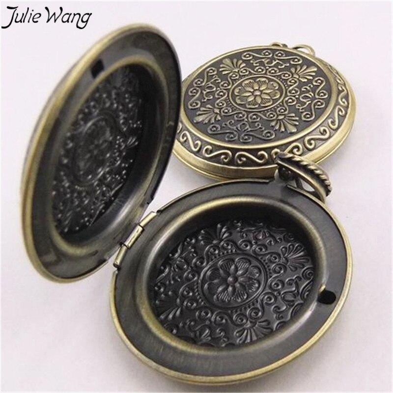 Julie Wang 2 stücke Antike Bronze Messing Anhänger Liebe Paar Blume Foto Rahmen Medaillon Charme DIY Metall Halskette Schmuck Zubehör