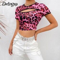 Darlingaga chique rosa leopardo impressão malha topo mulher tshirt transparente divisão manga curta colheita topos camisetas 2020 verão sexy