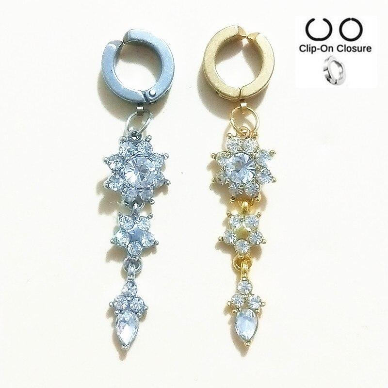 Поддельные кольца для пупка из стали 316, украшения для тела, кольца для пирсинга живота, сексуальные кольца для пупка с кристаллами и цветком