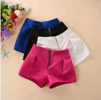 New Spring /Summer Designer Women Shorts High Quality Dobby Straight Casual Short Pants Black /White /Blue /Red Fast Ship 8923