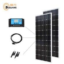 Boguang 12 V/24 V/20A contrôleur 100w verre panneau solaire monocristallin cellule PV module 200w kit de bricolage solaire 12v batterie chargeur à la maison