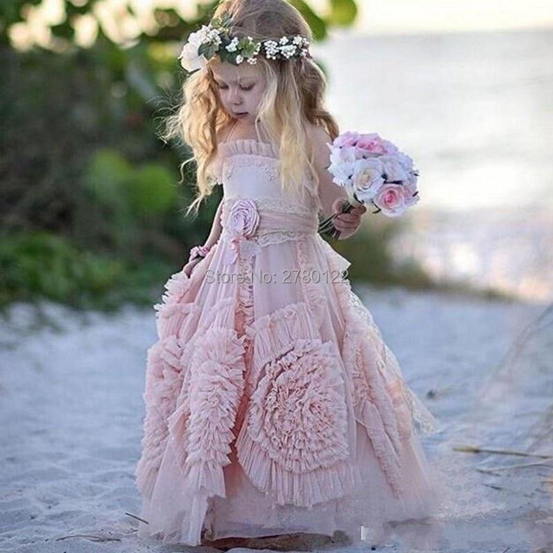 Vestidos concurso Para Meninas Rosa Sagrada Comunhão Vestido Da Menina de Organza Longas Meninas Frock Designs Crianças Rendas do Vestido De Noite Personalizado