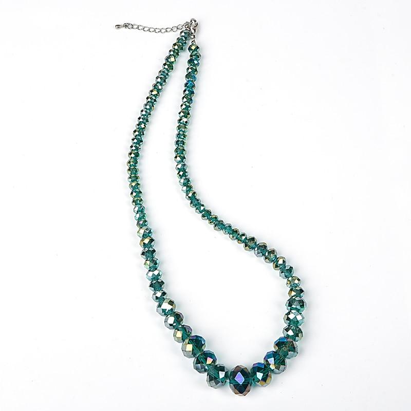 Collar de cuentas de vidrio verde derecho de 6-14mm con brillo de estrella, hermoso y simple