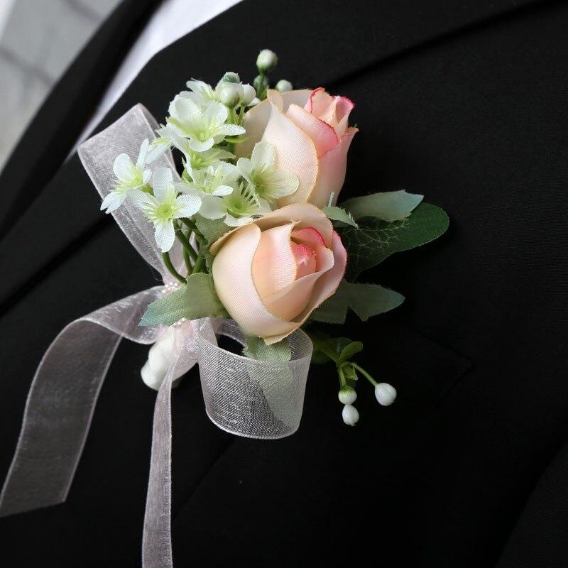 Nueva flor boda novio padrino flores broche Pin padre Artificial mejor hombre ramillete para traje accesorios decoraciones