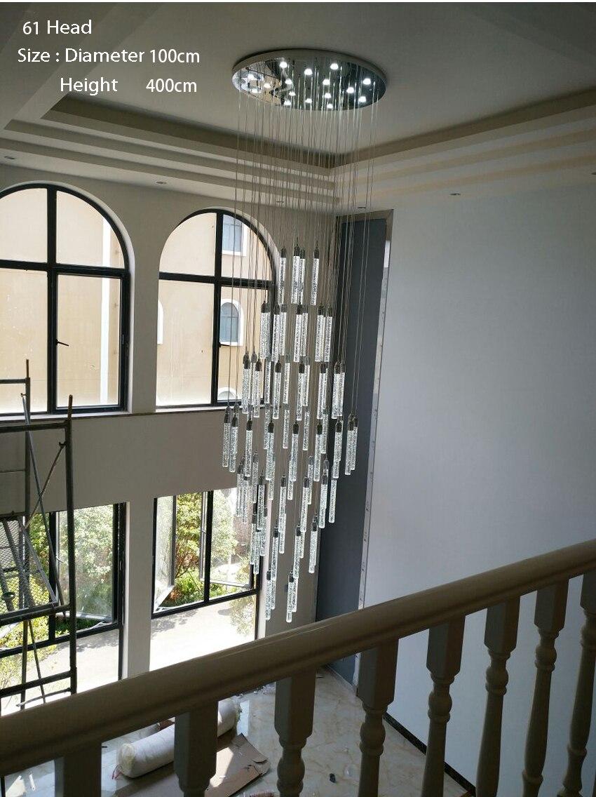 ثريا كريستال مضيئة ، تصميم مزدوج ، إضاءة داخلية ، إضاءة سقف زخرفية ، مثالية للفيلا ، بهو ، مركز تسوق أو الفندق.