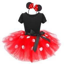 2 uds. Conjunto de ropa de manga corta Niña de Polka Dot Minnie Mouse vestido diadema para bebés niñas cumpleaños Mickey Mouse pastel equipo de choque