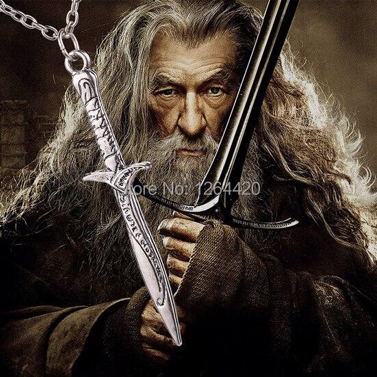 Venta al por mayor 24 unids/lote Hobbit espada colgante collar de la moda de los hombres collar caliente 2014