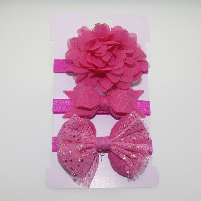 3Pcs Baby Elastic flower headband Headbands Hair Girls Bebe Bowknot Hairband Toddler Infants accessories set photography props 10