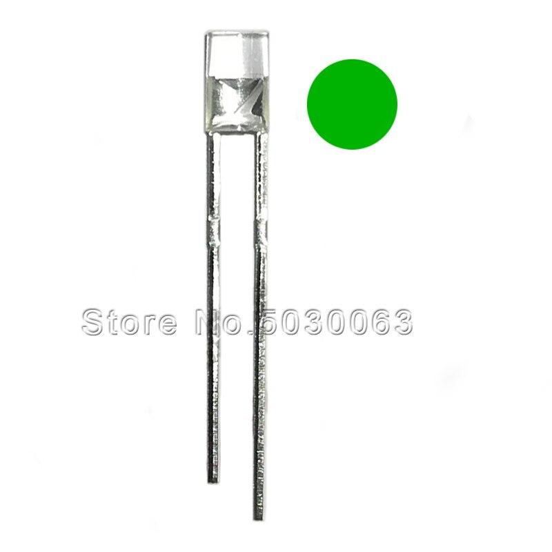 100pcs/lot 3MM flat head clear turn green No edge  transparent  bright  emerald green  F3  light emitting diode  LED green light
