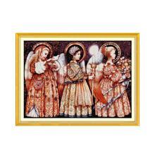 Kit de broderie au point de croix 11CT 14CT   Broderie au point de croix pour la veille de noël dange, jolie fille, couture faite main, bricolage, broderie trois petits anges Figure