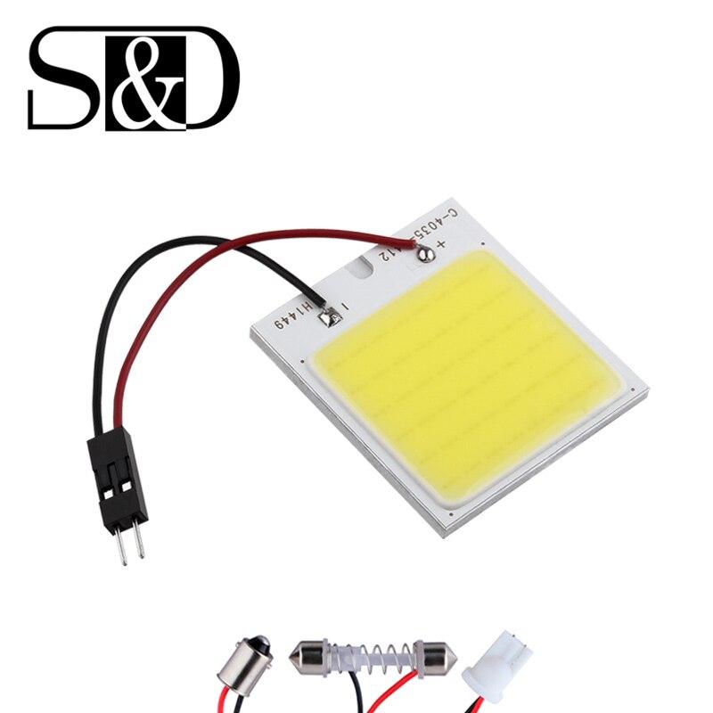 COB 48 Chip coche LED para panel interior luz T10 de bóveda del adorno ba9s fuente de luz del coche 12V 12V W5W C5W bombillas led de coche Lámpara de lectura D45