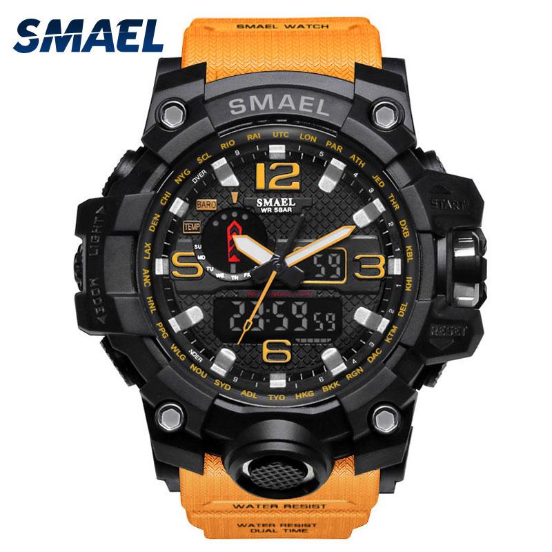 SMAEL Mens Watch Sport Male Clock Dual Digital Watches 1545 5ATM Waterproof Mens Wristwatches Military Stopwatch Sport Watch Men